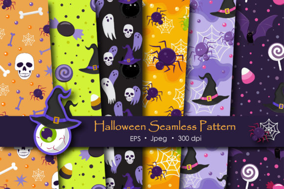 Print on Demand: Halloween Ghost and Witch Cat Pattern Graphic Patterns By jannta - Image 1