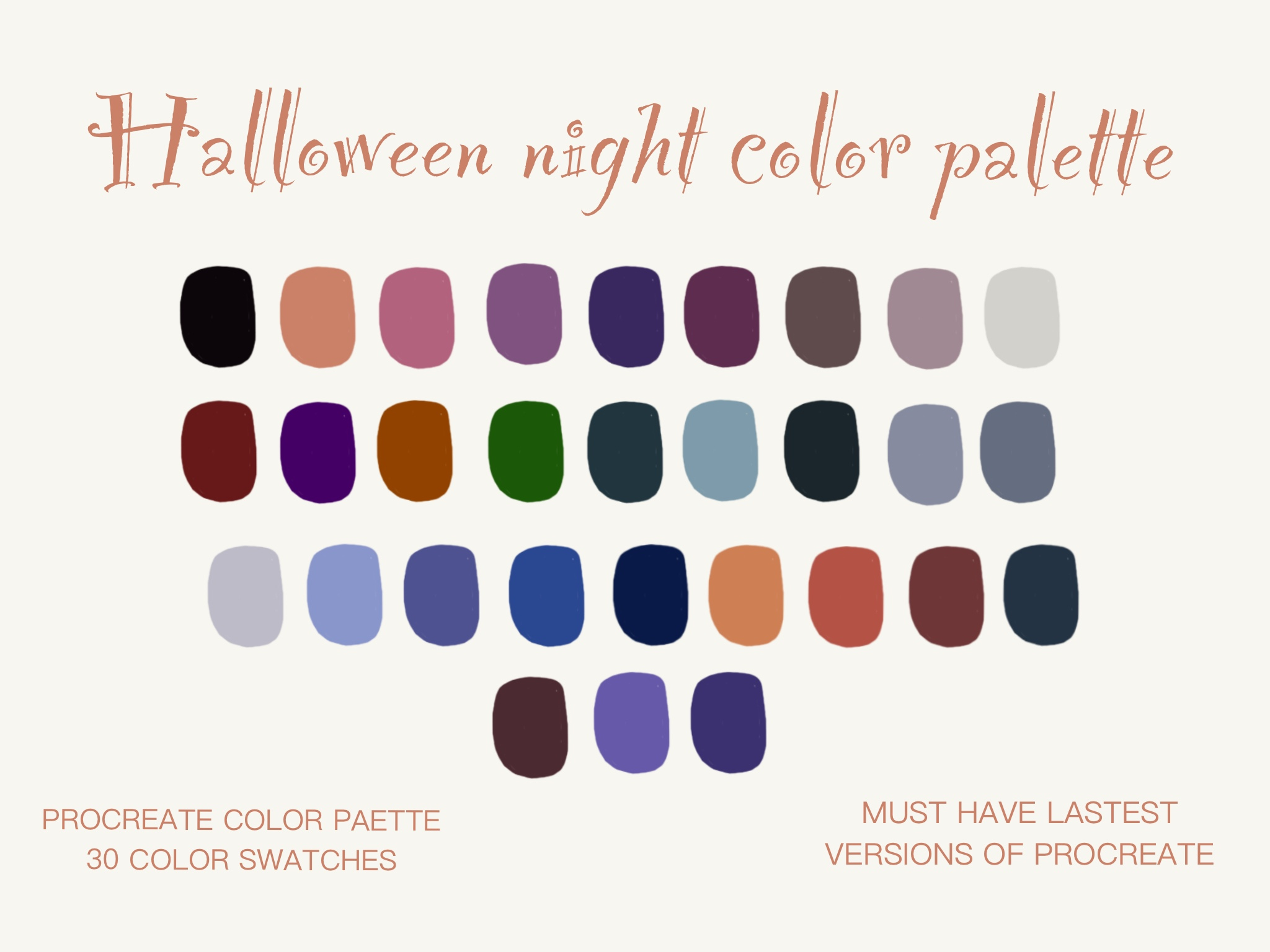 Halloween Color Palettes 2020 Halloween Night Color Palette (Graphic) by Centtaro_product