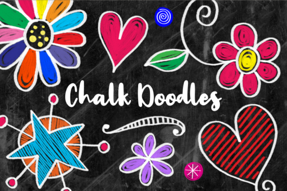 Print on Demand: Hand Drawn Chalk Board Doodle Elements Graphic Illustrations By Prawny