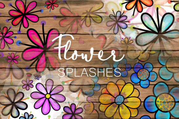 Hand Drawn Doodle Flower Paint Splashes Graphic