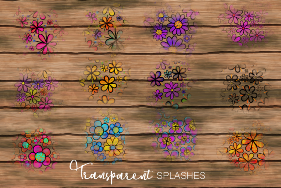 Hand Drawn Doodle Flower Paint Splashes Graphic Item