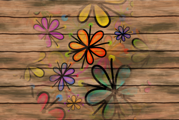 Hand Drawn Doodle Flower Paint Splashes Graphic Design