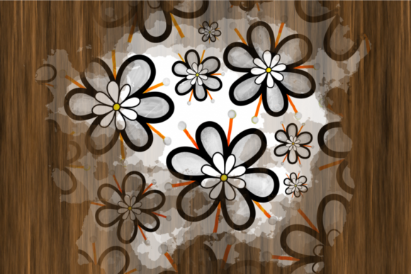 Hand Drawn Doodle Flower Paint Splashes Graphic Preview