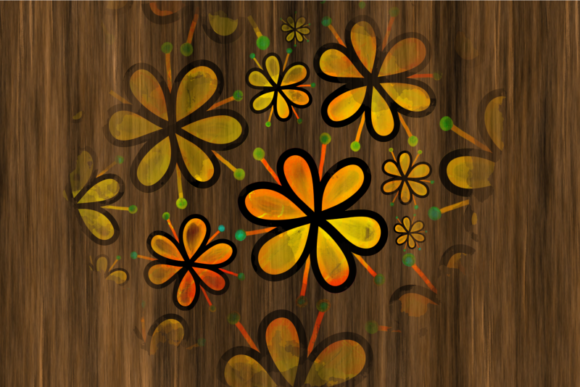 Hand Drawn Doodle Flower Paint Splashes Graphic Image