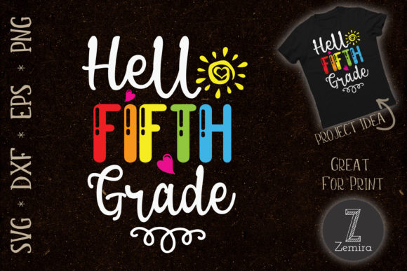 Print on Demand: Hello Fifth Grade Back to School Graphic Print Templates By Zemira