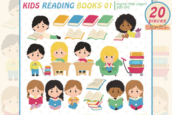 Kids Reading Books Clipart, Education Graphic Illustrations By clipartfables
