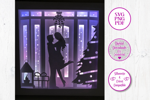 Kiss Under the Mistletoe 3D Shadow Box Graphic 3D Shadow Box By Jumbleink Digital Downloads