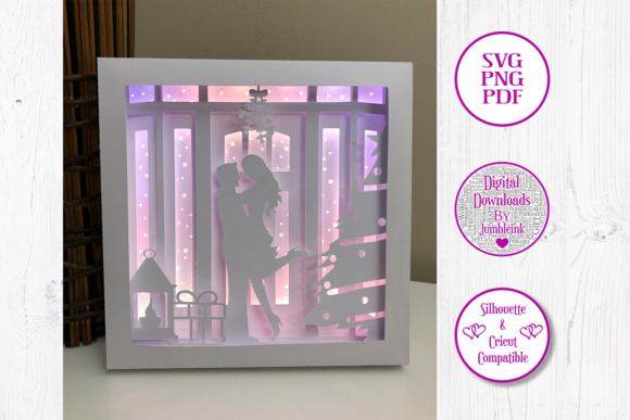 Kiss Under the Mistletoe 3D Shadow Box Graphic Download