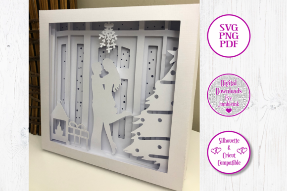 Kiss Under the Mistletoe 3D Shadow Box Graphic Preview