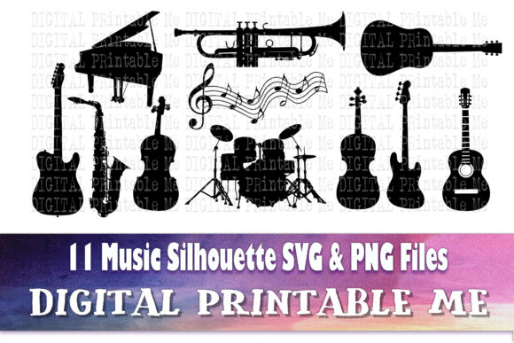 Print on Demand: Musical Instrument Silhouette, Music Graphic Crafts By DigitalPrintableMe