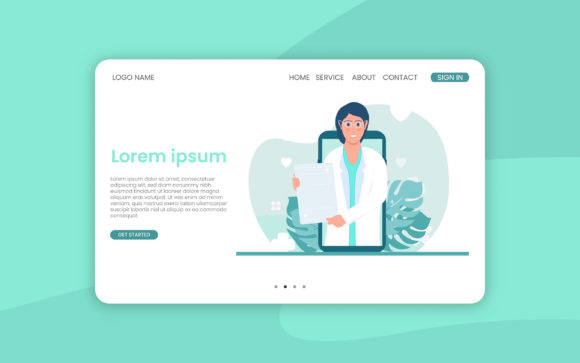 Print on Demand: Online Medical Landing Page Website Graphic Landing Page Templates By ngabeivector