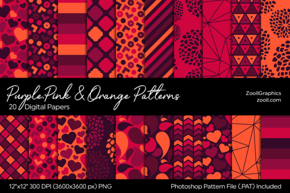 Purple, Pink and Orange Digital Papers Graphic Patterns By ZoollGraphics