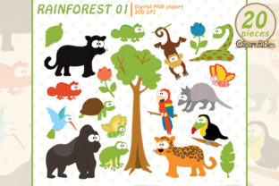 Rainforest Clipart, Cute Wild Animals Graphic Illustrations By clipartfables