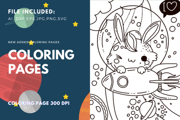 Print on Demand: Rocket Rabbit Fly in Space Page Gráfico Coloring Pages & Books Kids Por stanosh