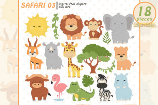 Safari - Wild Animals, Cute Baby Animals Graphic Illustrations By clipartfables