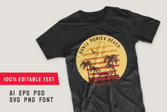 Print on Demand: Santa Monica Beach Palm and Car T-shirt Graphic Illustrations By Universtock