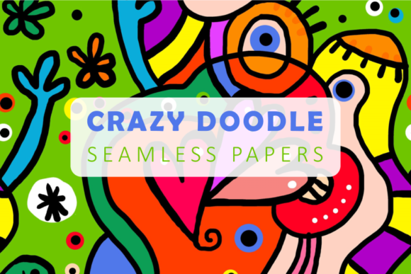 Print on Demand: Seamless Crazy Hand Drawn Doodle Papers Graphic Patterns By Prawny