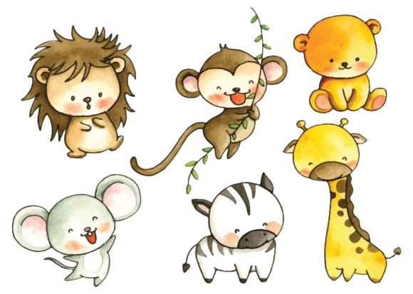 Set of Cartoon Animals in Water Color Graphic Illustrations By Big Barn Doodles