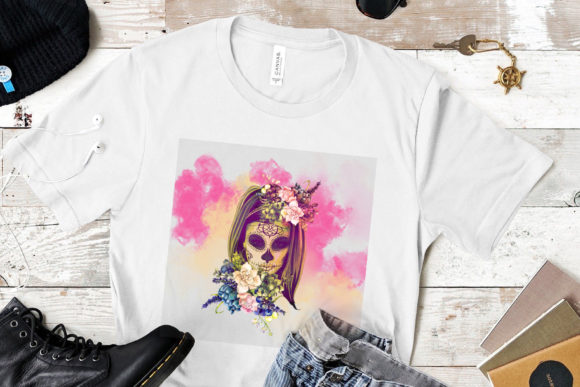 Skull with Flowers Wreath,Day Dead Graphic Print Templates By CSDesign