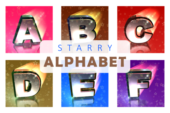 Print on Demand: Starry Night Alphabet Letters Graphic Illustrations By Prawny