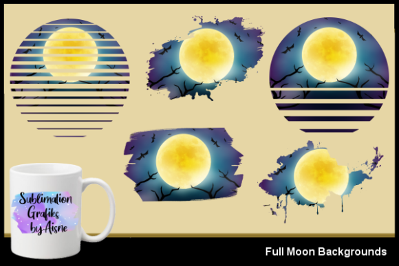 Print on Demand: Sublimation Full Moon Backgrounds Graphic Backgrounds By Aisne