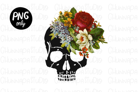 Sublimation Skull with Flower Download Graphic Print Templates By CSDesign
