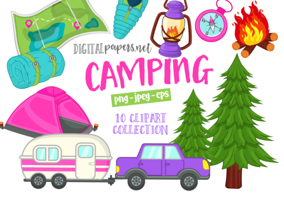 Print on Demand: Summer Camping Graphic Illustrations By DigitalPapers