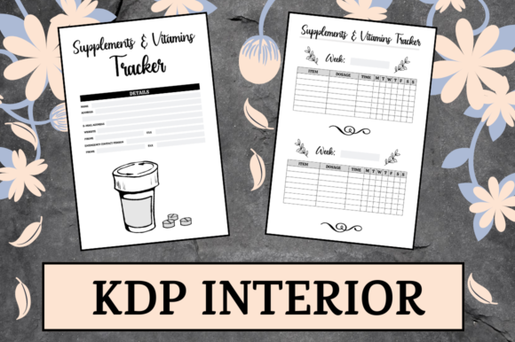 Print on Demand: Supplements & Vitamins Tracker | KDP Graphic KDP Interiors By Hungry Puppy Studio