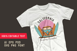Print on Demand: Surfing Paradise T-shirt Design Template Graphic Print Templates By Universtock