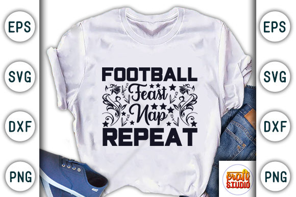 Print on Demand: Football Feast Nap Repeat Graphic Print Templates By CraftStudio