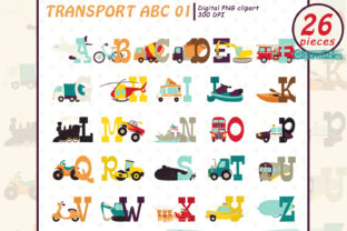 Transport Alphabet Clipart, Vehicle ABC Graphic Illustrations By clipartfables