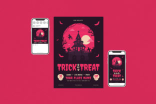 Trick or Treat Party Flyer Set Graphic Print Templates By ihsanshihab.design