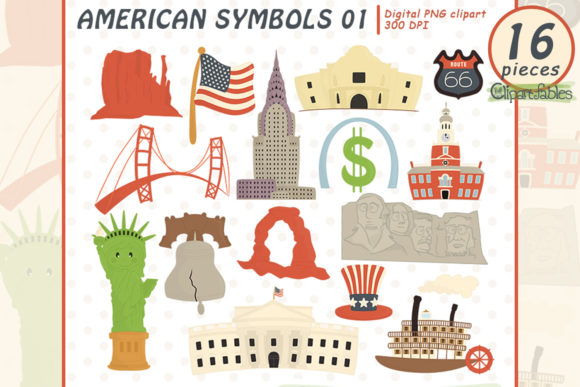 USA National Symbols Clipart, Travel Art Graphic Illustrations By clipartfables