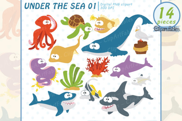 Under the Sea, Cute Sea Animals Graphic Illustrations By clipartfables