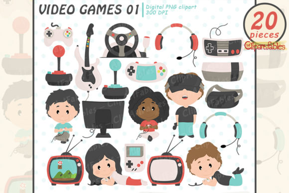 Video Game Clipart, Retro Computer Games Graphic Illustrations By clipartfables