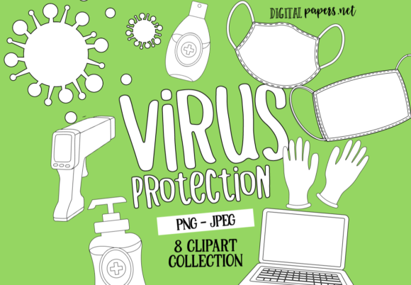 Print on Demand: Virus Protection Outlines Graphic Illustrations By DigitalPapers
