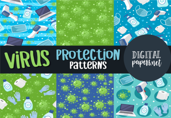 Print on Demand: Virus Protection Repeat Patterns Graphic Illustrations By DigitalPapers
