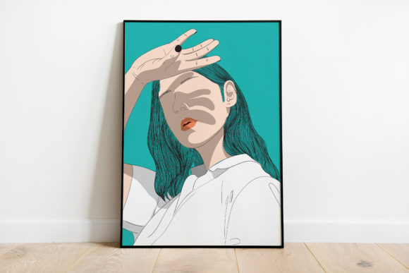 Print on Demand: Wall Art a Woman Shading Her Hand Gráfico Ilustraciones Por Saydung89
