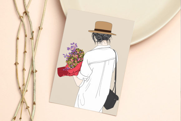Print on Demand: Wall Art Girl Holding Flowers at Wedding Graphic Illustrations By Saydung89