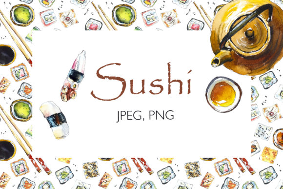 Watercolor Sushi, Roll and Green Tea. Graphic Illustrations By Мария Кутузова