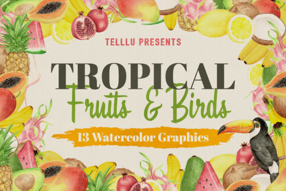 Print on Demand: Watercolor Tropical Collection 2: Fruits Graphic Illustrations By Telllu