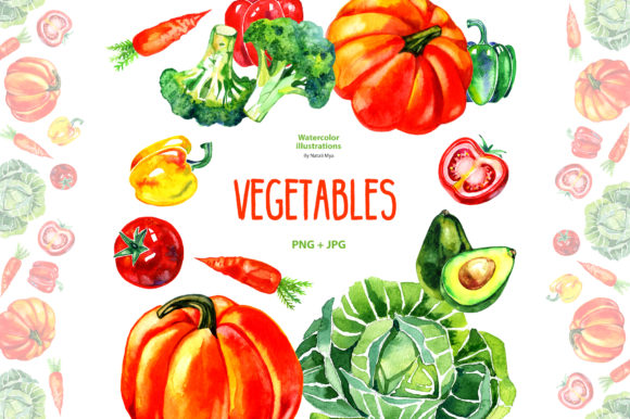 Watercolor Vegetables Graphic Illustrations By NataliMyaStore