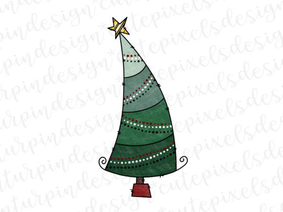 Print on Demand: Whimsical Christmas Tree Graphic Illustrations By SusanTurpinDesign