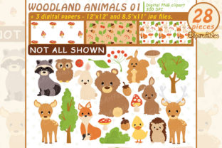 Woodland Animals, Cute Animal Clipart Graphic Illustrations By clipartfables