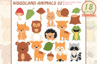 Woodland Animals, Cute Baby Animals Graphic Illustrations By clipartfables