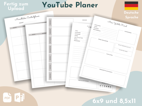 Print on Demand: YouTube Planer | German KDP Interior Graphic KDP Interiors By Nadine creates