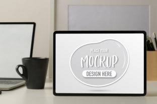 Mock Up Tablet with Coffee Cup Graphic Product Mockups By bongkarngraphic