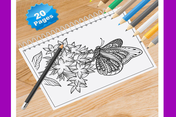 20 Butterfly Coloring Pages for Adults Graphic Coloring Pages & Books Adults By Coloring World - Image 1
