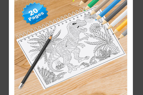 20 Dinosaur Coloring Pages for Adults Graphic Coloring Pages & Books Adults By Coloring World - Image 1