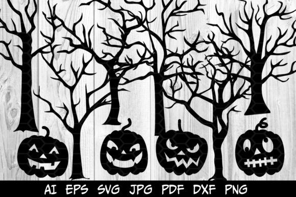 6 Halloween Trees, 4 Pumpkin's Heads SVG Graphic Illustrations By V-Design Creator